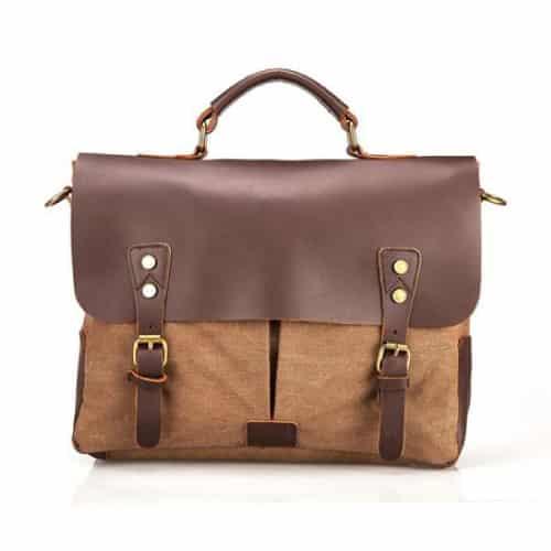 Retro Leather Canvas Messenger Bag