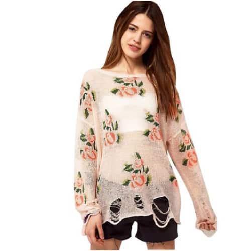 Vintage Flower Print Hollow Holes Sweater