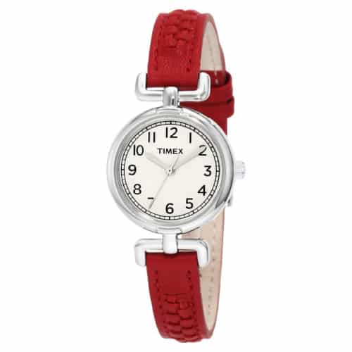 Timex Weekender Petite Red Woven Leather Strap Watch