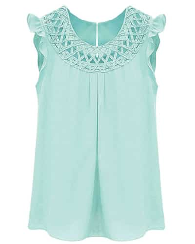 Chiffon Lattice Ruffle Trims Blouse | Mint green outfit ideas for girls