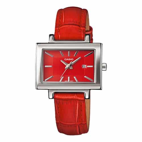 Casio Women Red Leather Quartz Watch