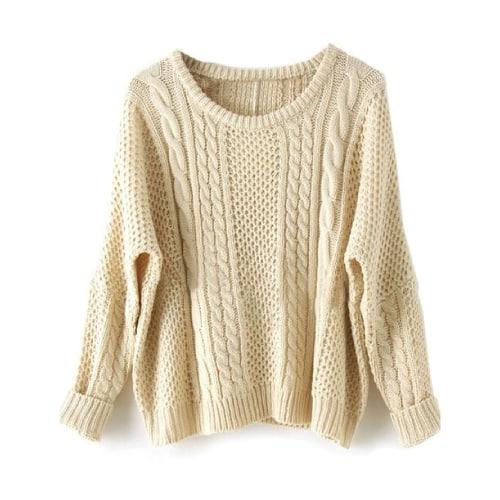 Sheinside Women Batwing Pullovers Loose Sweater