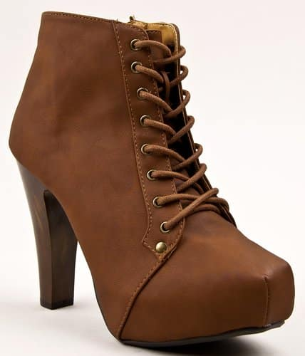 Qupid Puffin Lace Up Platform Boot
