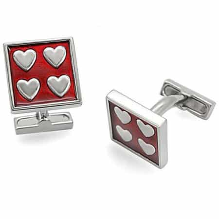 Heart Pattern Red Cufflinks