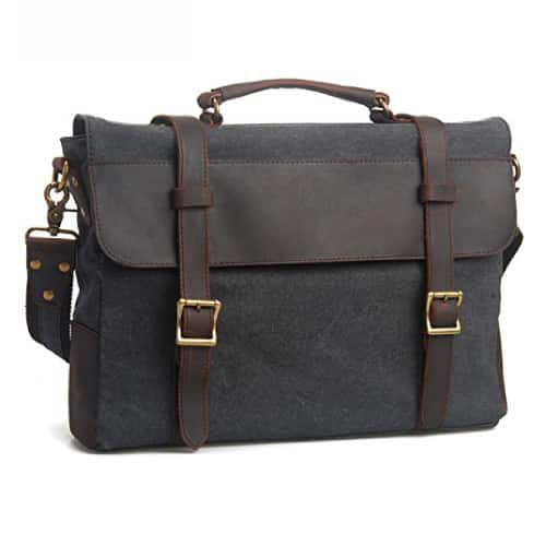 EcoCity Canvas Leather Laptop Messenger Bag