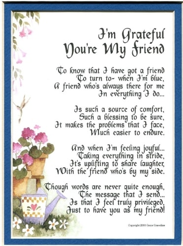 I'm Grateful You're My Friend Poem
