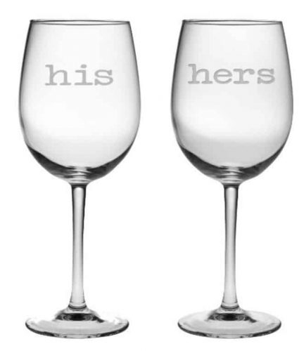 gift ideas for parents who have everything | his-hers wine glasses
