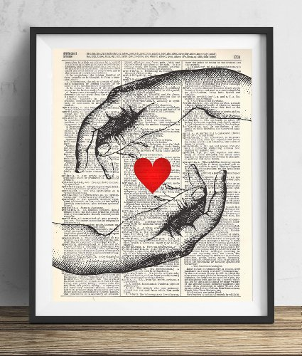 Hands With Heart Vintage Dictionary Art Print