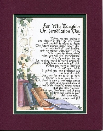 college graduation gift ideas for her - Daughter Graduation Day Poem