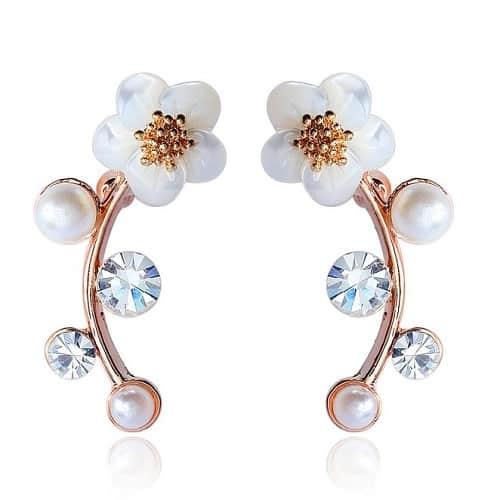 Pearl Flower Wrap Earrings