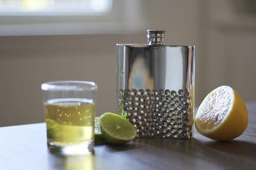 Hammered Pewter Flask