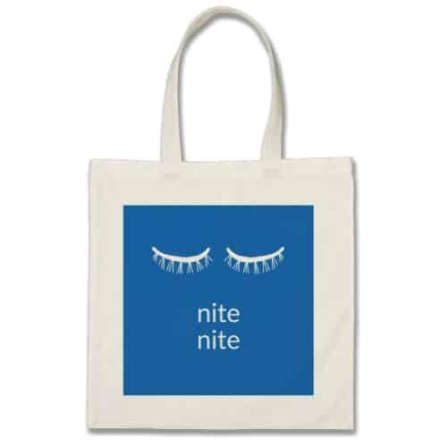Eyelash Graphic Nite Nite Tote. School supplies college list.