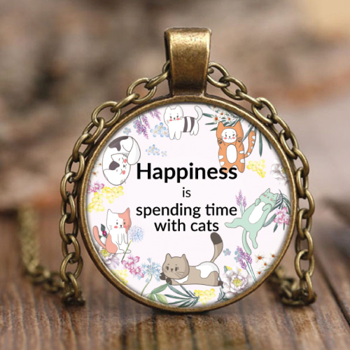happiness is spending time with cats necklace