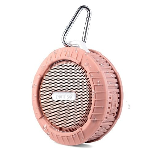 rose gold shower speaker with suction cup and speakerphone
