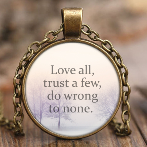 shakespeare quote about life pendant necklace