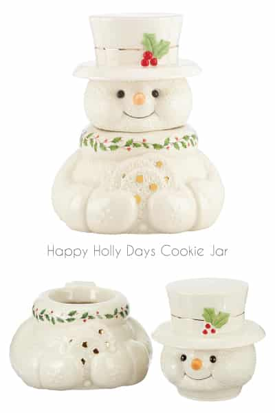 lenox happy holly days snowman cookie jar | hostess gifts