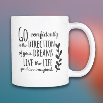 graduation gift for him - inspirational henry david thoreau quote coffee mug