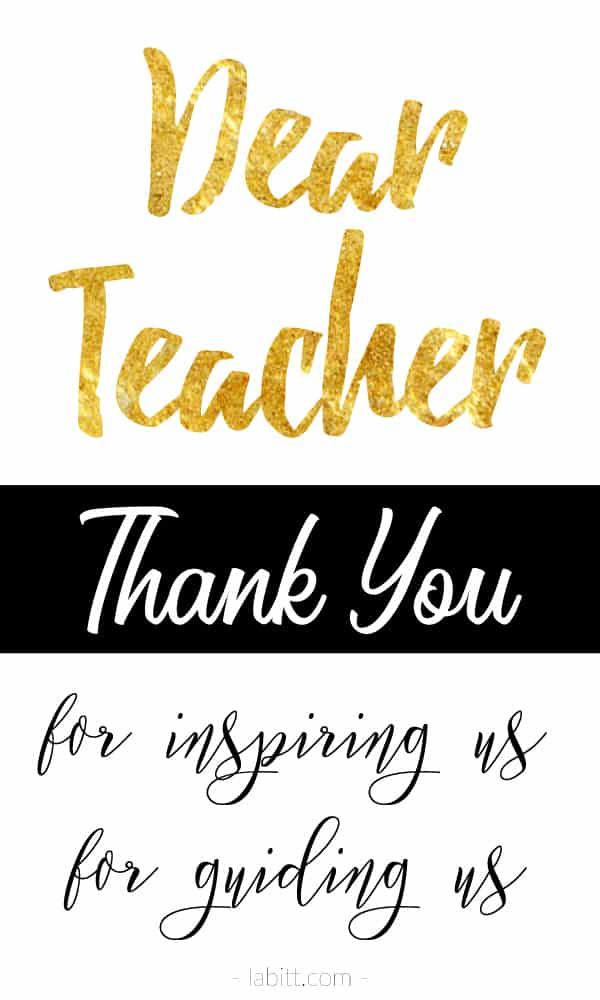 thank you teacher - teacher appreciation day / week quote about teacher, teaching, school, student - inspirational - gold foil