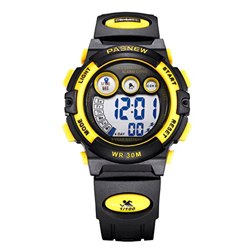 azland black & yellow boys watch