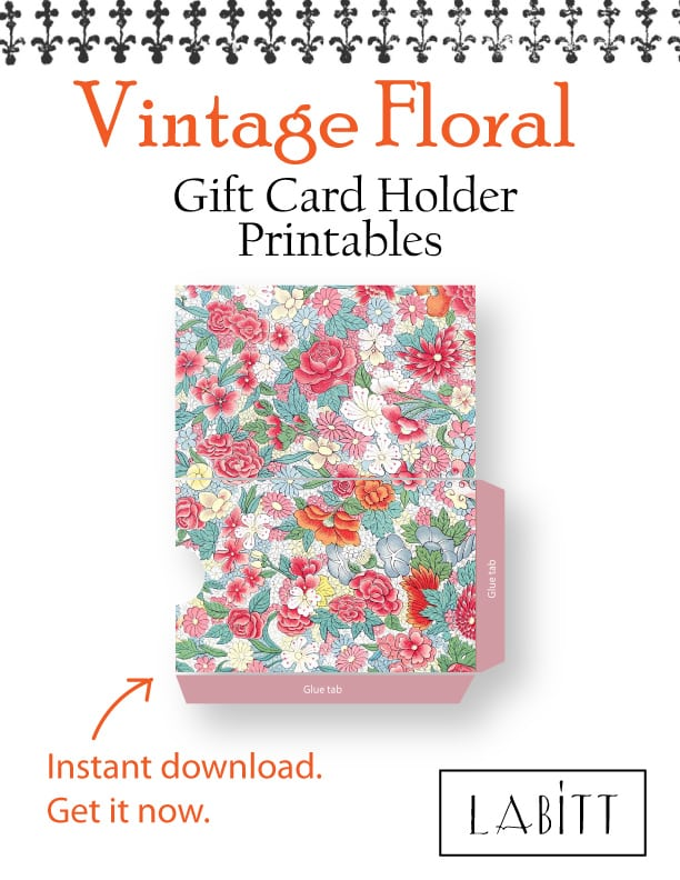Oriental - Vintage Style Floral Design Gift Card Holder Printables