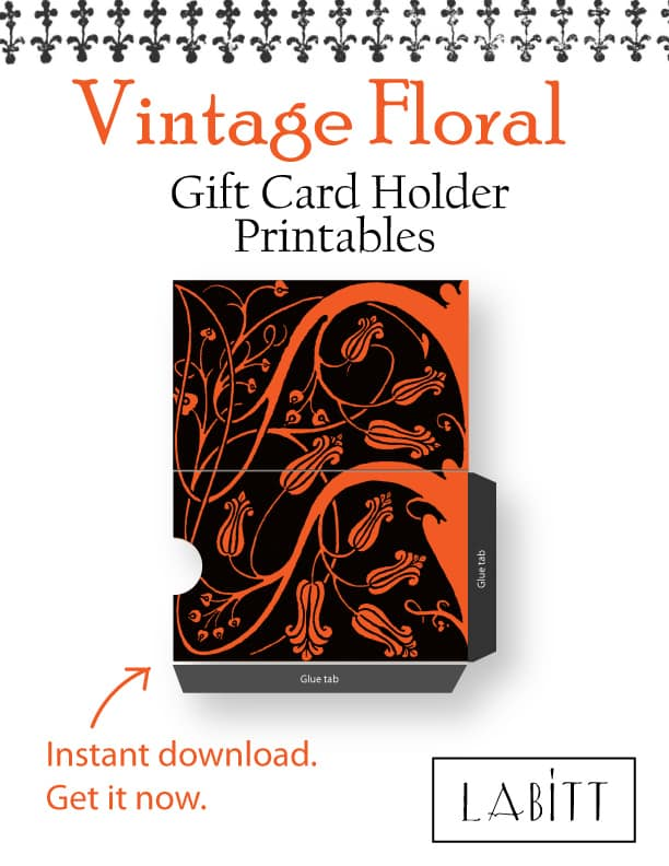 Dark Floral - - Vintage Style Floral Design Gift Card Holder Printables