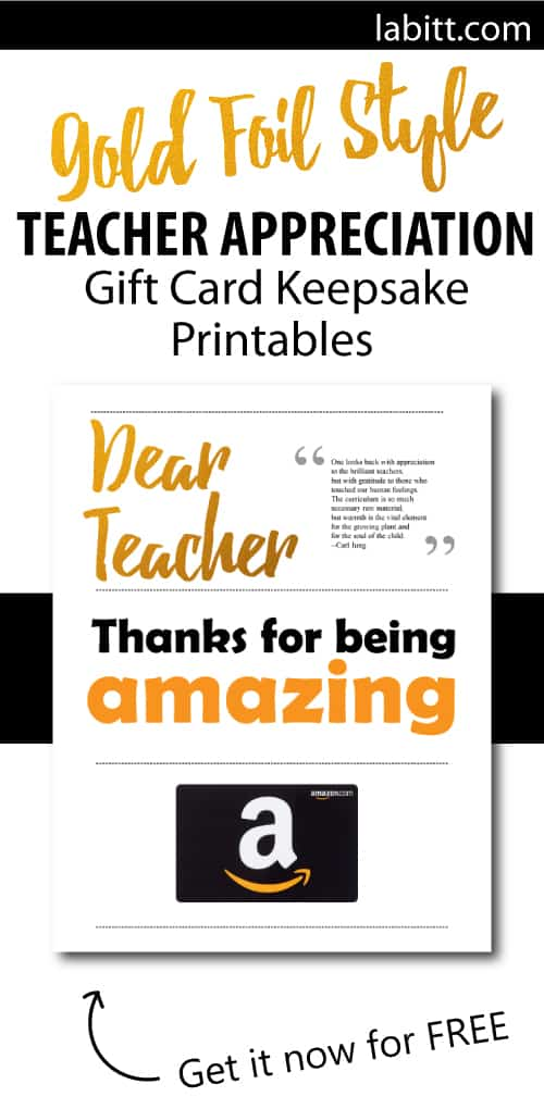 Teacher Appreciation Week DIY gifts to make from students | Gift Card Presentation Ideas | Printables for teachers