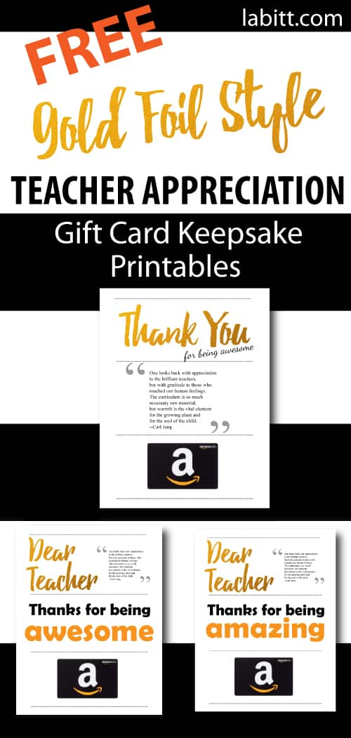 End of Year Teacher Gift | Teacher Appreciation Week Gift Card Presentation Ideas | Free Printables