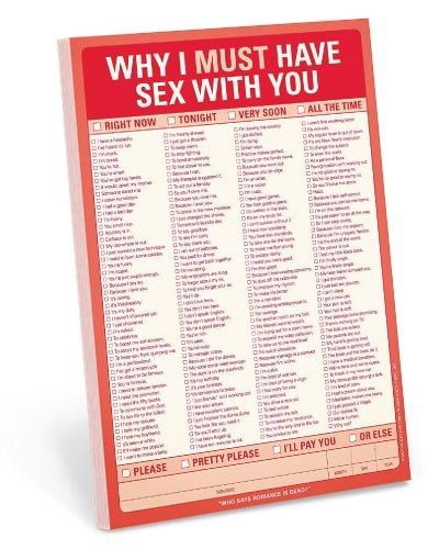 knock knock why i must have sex with you pad - naughty gifts for bride