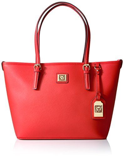 Red Anne Klein Perfect Tote Medium Bag. 5 Year Wedding Anniversary Gift Ideas for Her, for Wife. Women Gifts.