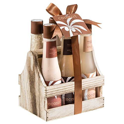 Tropical Milky Coconut Bath and Body Spa Gift Set 15th Wedding Anniversary Gift Ideas for Her, for Wife. Women Gifts.
