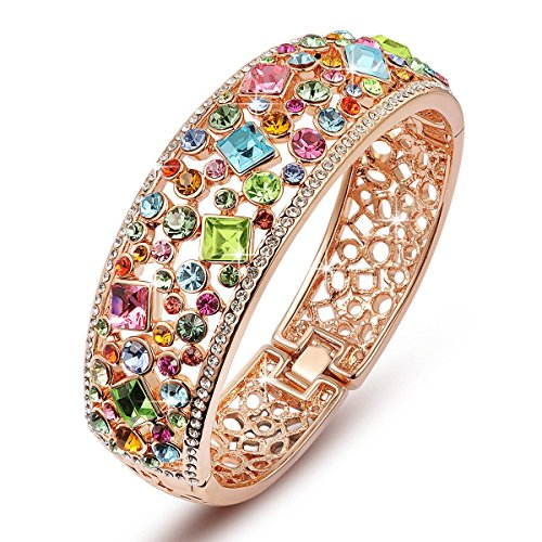 """Qianse """"Party Queen"""" Rose Gold Plated Bangle Bracelet. 15th Wedding Anniversary Gift Ideas for Her, for Wife. Women Gifts."""