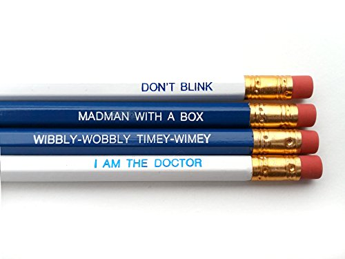 Dr. Who Quotes Pencil Set - Navy Blue & White