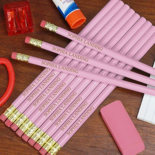 Customize Pink Pencils. School supplies college list.