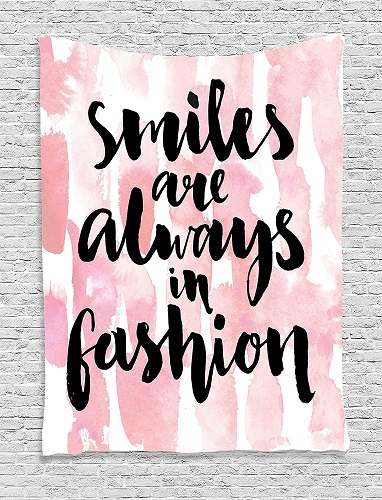 """Smiles are Always in Fashion"" Hanging Tapestry. Inspirational quote wall decor. Dorm Room Decor"