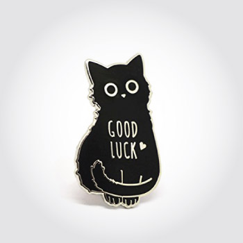 good luck black cat lapel pin