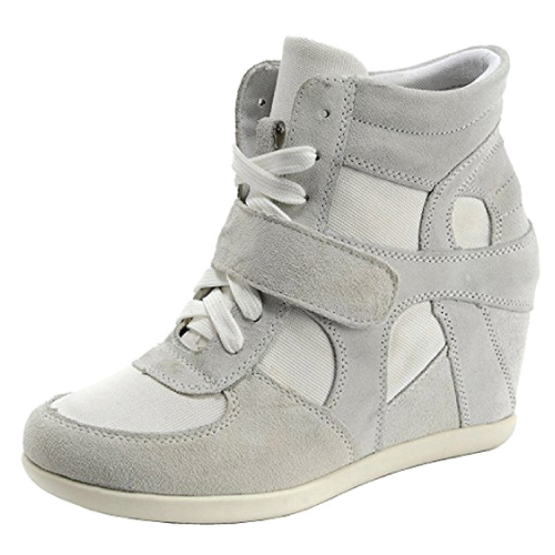Suede Leather Hidden Wedge Sneakers