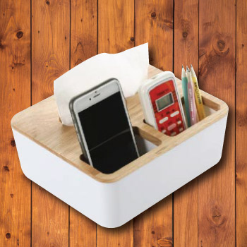 Wooden table organizer for phone and stationery
