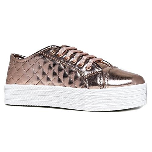 Metallic Quilted Platform Shoe