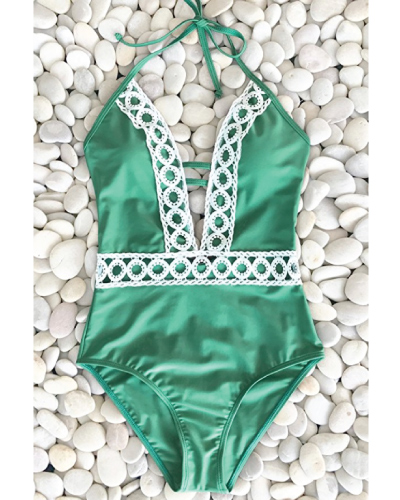 Thick Forest Deep V One-Piece Swimsuit