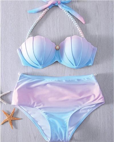 Gradient Mermaid Shell Push Up Bikini