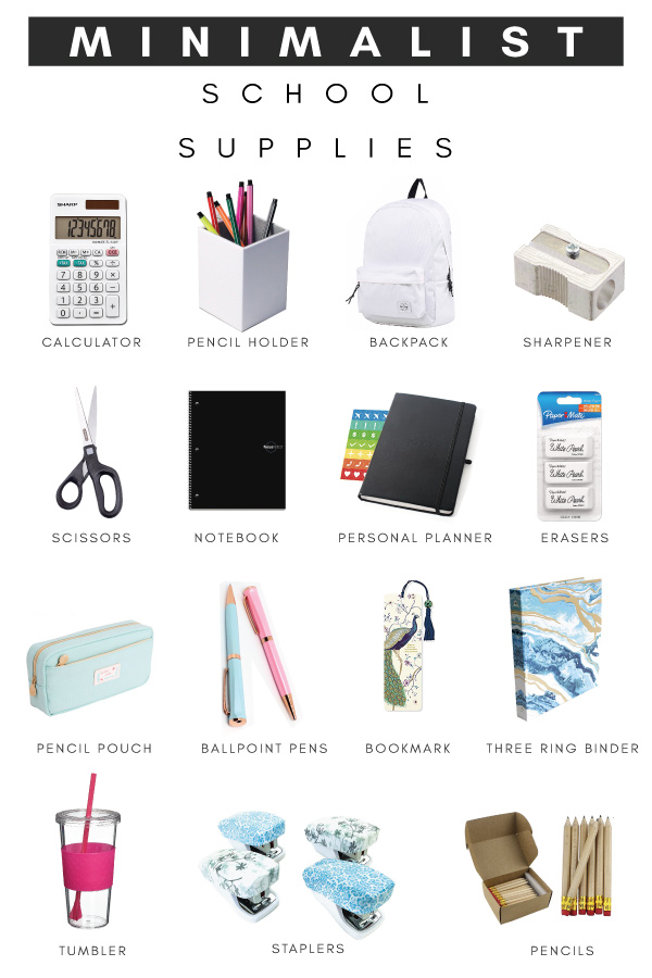 Minimalist back to school supplies