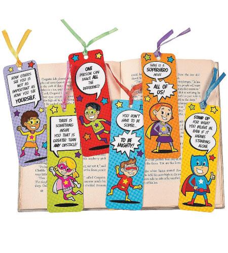 15+ Cute School Supplies for Kids: superhero bookmarks