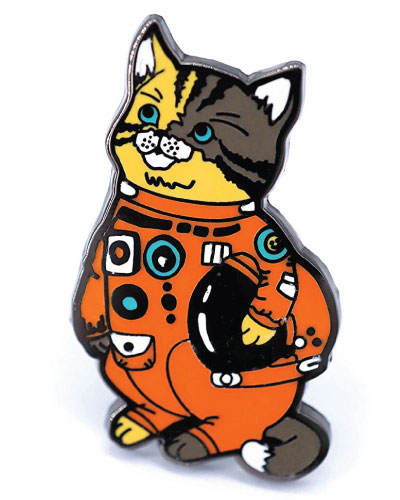 Astronaut kitty cat lapel pin