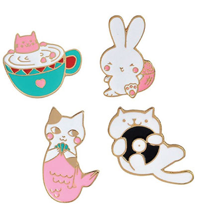 Cat in a cup lapel pin