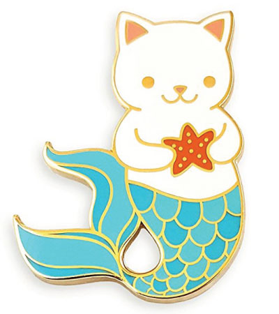 Mermaid cat lapel pin