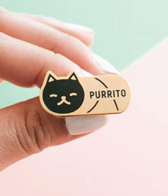 Purrito black cat lapel pin