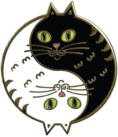 Yin and yang cat lapel pin
