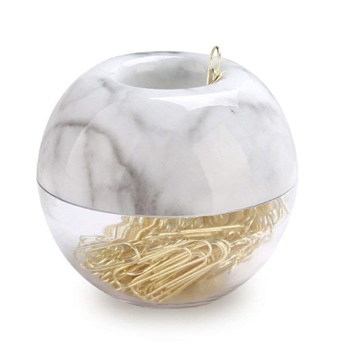 gold paperclips x marble container