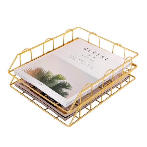 girly-girl-office-supplies gold stackable letter document tray