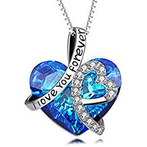 i love you blue crystal heart pendant necklace